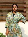 Gray Paisely Short Kimono Robe