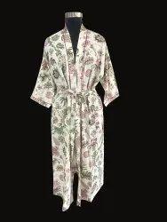 Floral Print Cotton Long Kimono Robe