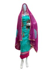 Unstitched Sky Blue, Purple Glace Cotton Party Wear Heavy Designer Ladies Suit, Handwash