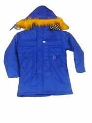 Nylon Blend Hooded Ladies Blue Winter Jackets, Size: Small
