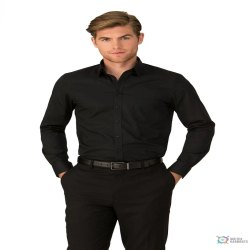 Gender: Men Black and White City Stretch Classic Shirt Long Sleeve