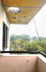 Ss Wire Ropes Nylon Coated Vertical And Horizontal Invisible Window Grill, Horizon And Vertical Ropes
