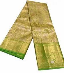 5.5 M Plain Party Wear Pure Zari Handloom Saree, With Blouse Piece
