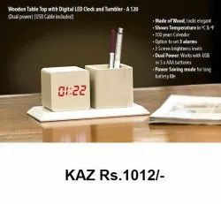 Wooden Table Top With Digital LED Clock And Tumbler