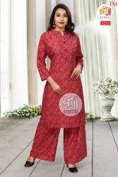 Ladies Red Printed Rayon Palazzo Suit, Machine wash
