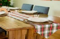 Red and White Printed Table Runners, Size: 120 X160 Cm