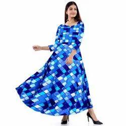 Printed Blue Jaipuri Gowns