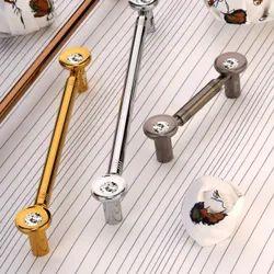 Brass Swarovski Crystal Cabinet Handle