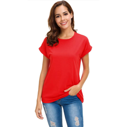 Half Sleeve Round Women Plain T Shirt