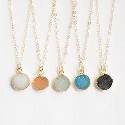Natural Black Blue Orange Color Druzy Round Bezel Pendant Necklaces