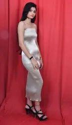 95% Imported Zari & 5% Spandex Silver Sleeveless Plain Long Midi Dress, Size: Small