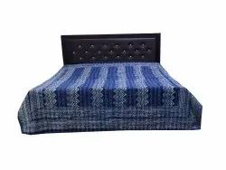 Indigo Blue Dabu Print Kantha Bed Cover