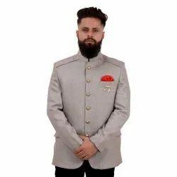 Gray Plain Mens Regularfit Jodhpuri Suit