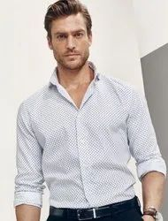 Casual Wear Collar Neck Men White Dotted Shirt