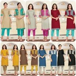 Tunic House A-Line Ladies Kurti With Jacket, Hand Wash