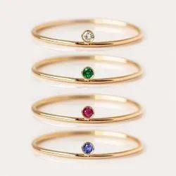 925 Solid Sterling Silver Dainty Birthstone Gemstone Rings