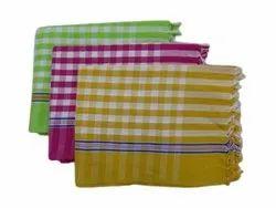 Adhya Handlooms Check Print Hotel Cotton Bath Towel, 195, Size: 33x68 Cm