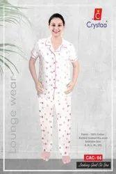 Cotton Ladies Collar Night Suit, Pants, Size: XXXL