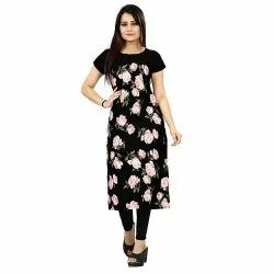 Casual Wear Straight Ladies Crepe Printed Kurti, Size: Small