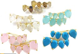 Gold Vermeil Gemstone Ear Climber , Gift for Women and Girl - Gemstone Ear Climber