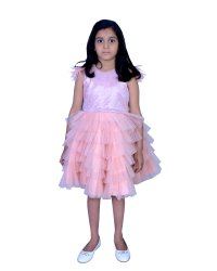 Peach Net Fether sleeves party wear dress, Age Group: 1-to 12 Years, Size: 1 To 12 Years