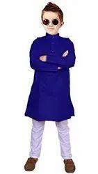 Navy Blue,White Festive Wear Kids Cotton Kurta Pajama