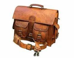 Handmade Men Vintage Leather Messenger Bags 4 Pocket Bag, Size: 11 X 15