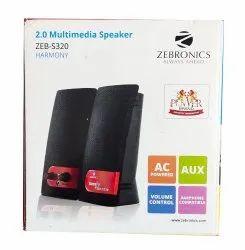 Black ZEB-S320 Zebronics 2.0 Multimedia Speaker, Ac 220 V