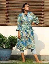 Light Blue Paisely Short Kimono Robe