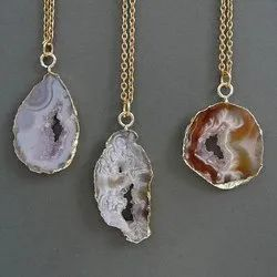 Natural Agate Slice Druzy Electroplated Pendant Necklace
