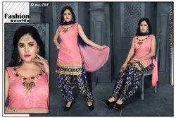 Cotton Semi-Stitched Ladies Salwar Suits, Handwash, 50 Gsm