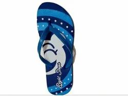 Pattern Printed Blue Bicolor Ladies Flip Flops Slippers