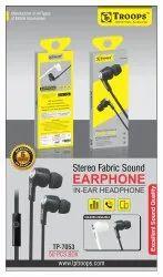TP Troops Stereo Fabric Sound Earphone (b & W) 6m Warranty 7053  (Box-50) Earphone