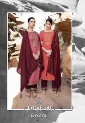 Rangoon Gazal Silk Weaving Buti And Sequence Work Readymade Suit Catalog