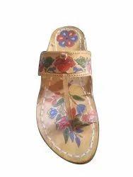 Beige Casual Wear Macrojack Ladies Printed Kolhapuri Slipper, Size: 6 - 10