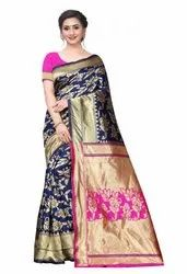 Festive Wear Printed South Indian Silk Saree, 6.3 m (with blouse piece), With Out Blouse Piece