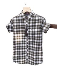 Checks Brown and White Large Check Box Shirts, Handwash