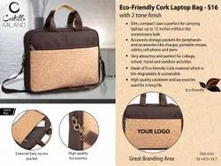 S16 Eco Friendly Cork Laptop Bag With 2 Tone Finish