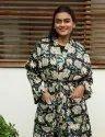 Block Print Cotton Long Kimono Robe