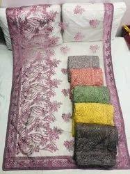 Net Embroidery Saree