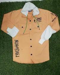 Men Light Orange Cotton Hooded Jacket