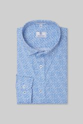 Boros 100% Cotton Printed White & Blue Mens Formal Shirt, Machine wash