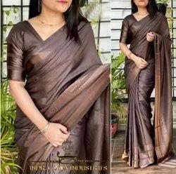 Party Wear Ladies Plain Silk Saree, With blouse piece, 6.5 Meter