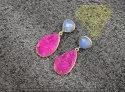 Blue Chalcedony With Pink  Druzy Gold Plated Earning