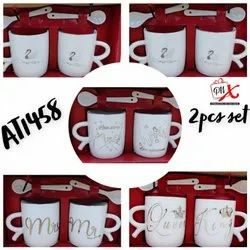 Ceramic White Cup Set 2 Pcs, For Gift Purpose