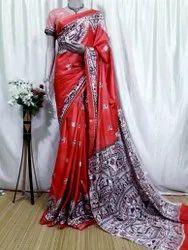 Party Wear Printed Ladies Designer Cotton Silk Sarees, 5.5 m