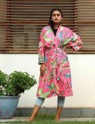 Pink Bird Print cotton Short Kimono Robe