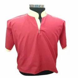 Half Sleeve Plain Men Red Cotton Waiter T Shirt, Size: S-XL
