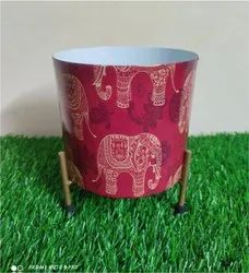Pot With Stand & Printed Elephant Print For Home