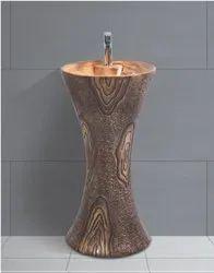 Zoyo Cera Ceramic Pedestal Wash Basin, For Bathroom